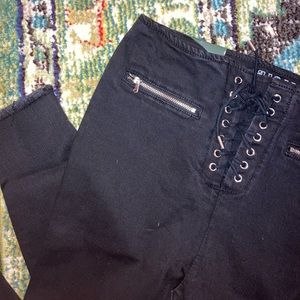 High Waisted lace up black skinny jeans